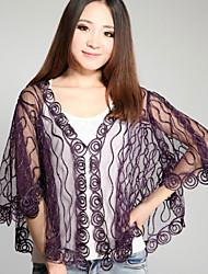 Wedding Wraps Half-Sleeve Orlon/Polyester Thin Ponchos Black/White/Purple/Almond