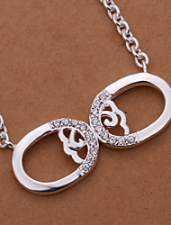 Fashion Mask Shape Silver Plated Simple Foreign Trade Rolo Silver Pendant Necklace(White)(1Pc)