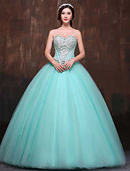 Formal Evening Dress Petite Ball Gown Sweetheart Floor-length Satin / Tulle / Polyester with Beading / Crystal Detailing