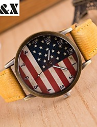 Women's Fashion Diamond Colorful USA Flag Design Quartz Analog Denim Cloth Band Wrist Watch(Assorted Colors) Cool Watches Unique Watches