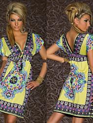 Yvonne Women's Print Blue / Pink / White / Yellow Dresses , Casual / Print V-Neck Short Sleeve
