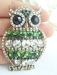 Women Accessories Gold-tone Green Clear Rhinestone Crystal Owl Brooch Art Deco Scarf Brooch Pin Women Jewelry