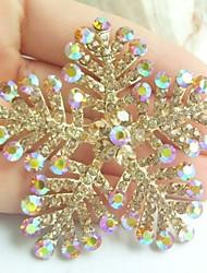 Women Accessories Gold-tone Topaz Rhinestone Crystal Brooch Bouquet Art Deco Snowflake Brooch Pin Women Jewelry