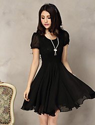 Women's Sexy Casual Lace Cute Party Plus Sizes Inelastic Short Sleeve Above Knee Dress (Chiffon)
