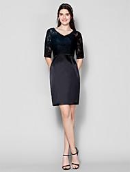 Vestido de Dama de Honor - Negro Corte Recto Escote en V - Corto Encaje/Satén Elástico