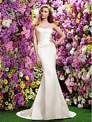 Lan Ting Trumpet/Mermaid Wedding Dress - Ivory Sweetheart Sweep/Brush Train Satin