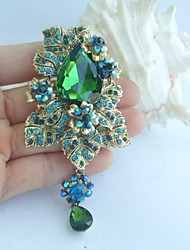 Women Accessories Gold-tone Turquoise Green Rhinestone Crystal Flower Brooch Art Deco Bridal Bouquet Women Jewelry