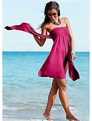 Robes Légères Aux femmes Taille Haute/Volants/Couleur Pleine/Bandage Sans Armature/Soutien-gorge Rembourré Bandeau Polyester