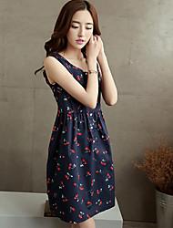 Women's Casual/Print/Party/Work Sleeveless Dresses (Cotton Blend)