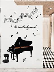 decalques de parede adesivos de parede, parede de estilo de piano pvc música adesivos