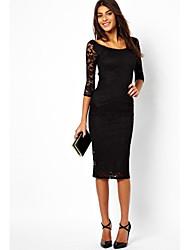 sexy / partido das mulheres micro-elástica ½ manga comprimento do vestido na altura do joelho (laço / algodão)