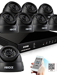 ZOSI® 8 Channel H.264 HDMI D1 DVR 8 pcs 700TVL Day Night Indoor CCTV Camera Surveillance Security System