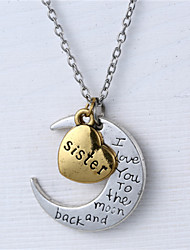 Alloy Heart and Moon Sister I Love You to the Moon and Back Necklace