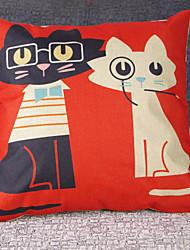 Black And White Cat Cartoon Design Cotton And Linen Sofa Pillowcase