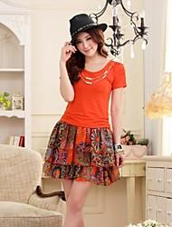 Women's Patchwork Orange Dress , Casual Crew Neck Short Sleeve Layered