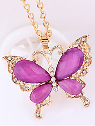Butterfly Shape Vintage/Party/Casual Alloy/Cubic Zirconia Opal Diamond Charm Pendant Necklace