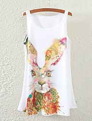 Women's Sleeveless Floral Rabbit Graphic Printed Vest