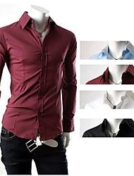 + 2014 новых мужские рубашки + мужская повседневная Slim Fit стильные рубашки горячие, длинный рукав, 4 цвета, 4 размера, оптовые, S-M14