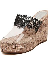 Zapatos de mujer - Tacón Cuña - Punta Abierta - Sandalias - Vestido / Casual / Fiesta y Noche - Látex - Negro / Blanco