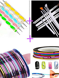 15PCS Nail Art Drawing Pen with 5PCS Dotting Pen Tool  With 12PCS Striping Tape Line Nail Stripe Tape Nail Sets