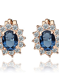 T&C Women's Lovely Blue Crystal Clip-On Earrings Sun Flower 18K Rose Gold Plated Fashion Jewelry