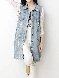 Women's Lapel Vintage Big Pockets Maxmara Hole Denim Vest Jacket