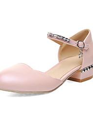 Women's Shoes Chunky Heel Round Toe Pumps/Heels Dress Blue/Pink/White/Beige
