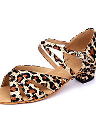 Women's/Kids' Dance Shoes Latin Satin Low Heel Leopard