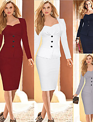 G&Z Women's Bodycon/Work Square Long Sleeve Dresses (Cotton/Polyester)