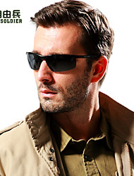 Men's Black & Brown Lens Black & Grey & Brown  Frame Traditcal Polarized Sunglasses