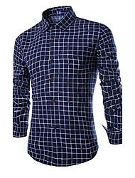 Men's Long Sleeve Shirt , Cotton Casual/Work Plaids & Checks