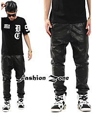 Hot sale dull black men's leather long pants hip-hop slim fit trousers motor style punk HIFASHION chaparajos