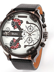 OULM® Men's  Military Dual Time Zones  PU Watch Cool Watch Unique Watch Fashion Watch