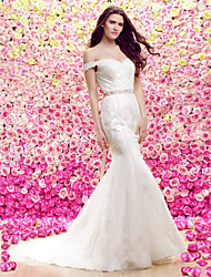 Lanting Trumpet/Mermaid Wedding Dress - Ivory Court Train Off-the-shoulder Lace / Tulle