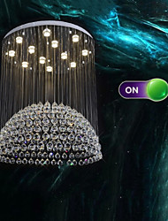 LED Pendant Lights Modern Crystal Chandeliers Clear K9 Crystal Silver Canopy Ceiling Lamps Fixtures H100CM