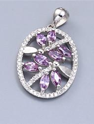 gl esterlina 925 joyería de plata con aaa púrpura piedras zirconia cúbico colgante para las señoras plateado / rodio
