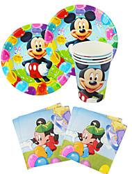 56pcs Mickey Mouse Baby Birthday Party Decorations Kids Evnent Party Supplies Party Decoration 18 People Use