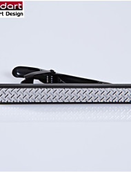IP Black 316L Stainless Steel Tie Clasp with Engraving Pattern for Men