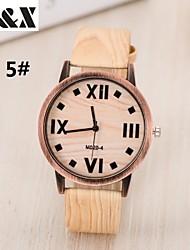 reloj de madera de la moda de grano cuatro cuarzo analógico digital de mezclilla tela de la venda de las mujeres (colores surtidos)