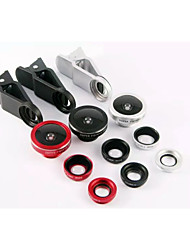 3in1 universel 185 ° Fish eye + 0,65 × grand angle + 10 × hd kit de Macro pour iPhone htc samsung sony (couleurs assorties)