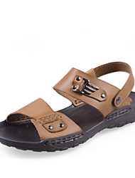 Men's Shoes Casual Leather Sandals Khaki