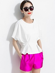 Women's Casual Plus Sizes Inelastic Short Sleeve Short Blouse (Chiffon)