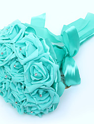 Свадебные цветы Круглый Розы Букеты Свадьба Партия / Вечерняя Атлас Поролон Хрусталь Стразы Около 20 см