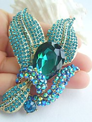 Women Accessories Gold-tone Turquoise Rhinestone Crystal Brooch Wedding Bouquet Art Deco Flower Brooch Bridal Jewelry