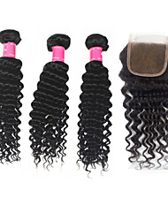 "Virgin Indian Human Hair Weave 12""-30"" Deep Wave With Virgin Remy 4*4Inch Lace Closure 10""-20"" 1B Human Hair"