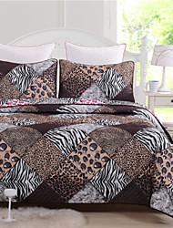 plaids zèbre de guépard de kit de couverture de 100% polyester 1pc de couette avec 2pcs de taies d'oreiller