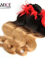 """4pcs muito 14-28 """"ombre brasileiro 2 de dois tons preto loira 1b / 27 # remy virgem extensões de cabelo humano / tecelagem feixes onda do"""
