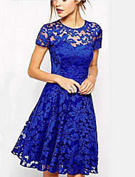 Women's temperament fashion round collar short sleeve dress blue lace