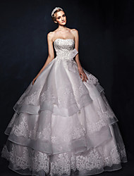 A-line Sweep/Brush Train Wedding Dress -Strapless Satin