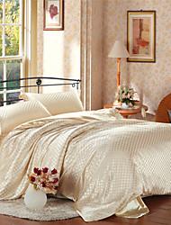 Luxury Beige Imitation Silk Duvet Covers Microfiber Fabric
